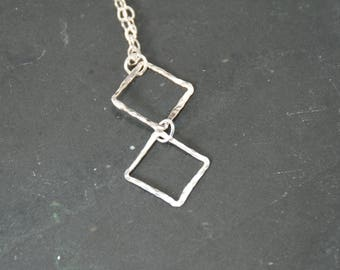 Hammered silver geometric Necklace; fine silver pendant
