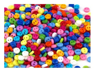 Set of 80 buttons color matching 6 mm 2 hole, scrapbooking