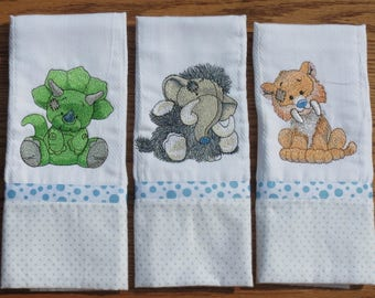 Diaper Burp Cloths ~ Machine Embroidered ~ Personalized Baby Shower Gift ~ Set of 3 Old Toy ~ Triceratops ~ Mammoth  ~ Saber Tooth Tiger