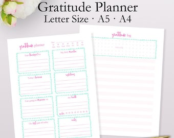 Gratitude Planner Printable, Gratitude Log, Goals and Personal Habit Tracker, Prayer Planner Printables A5, A4, Letter Size Instant Download