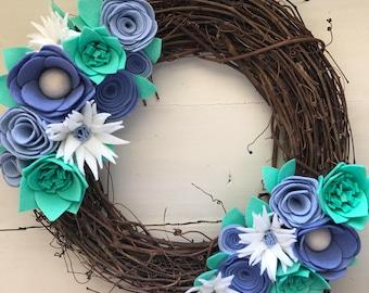 Felt Flower Wreath• Grapevine Wreath• Door Decor• Modern wreath