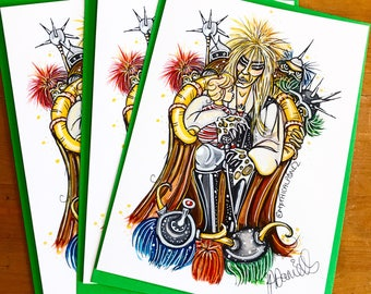 Stolen A5 greeting cards goblin king Mythicalponez labyrinth fantasy pop surrealism bizarre fairytale baby illustration watercolour ink