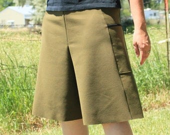 Culotte - Women's Box Pleat - Stretch Knit - Split Skirt - Wide Leg Shorts - Modest Shorts - Pleated Shorts - Quality Knit - Modest Woman