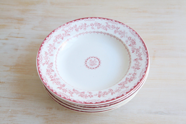 Antique Ironstone Plates Set of Six Pink Transferware Dinner