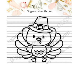 Thanksgiving PYO cookie Stencil turkey Pilgrim Paint your own ST00390