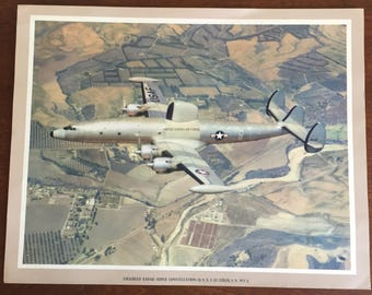 Vintage 1950's Art Print Ad Lockheed Radar Super Constellation EC121 United States Air Force Plane Aircraft Ad Transportation Ad Lockheed Ad