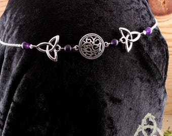 Tiara DIAdem Lawynna silver purple amethyst Triquetra knot Celtic elven medieval esoteric pagan wicca magic