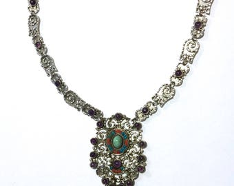 VINTAGE MEXICAN Sterling Silver necklace, turquoise & amethyst. Beautiful. Rare.