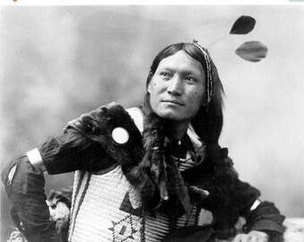 ON SALE Sunflower, Dakota Sioux, ca. 1899 - Native American - Photography - Photo - Art - History - Culture - Vintage - Print - Indian