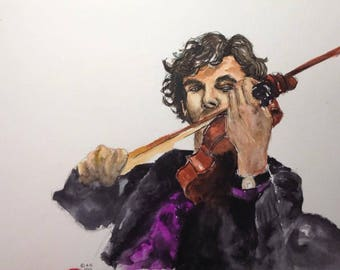 You've been Sherlocked. Sherlock Holmes. Portrait of Benedict Cumberbatch as Sherlock, watercolor on paper 30 X 40.