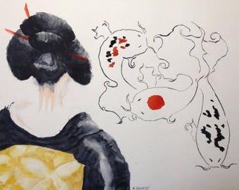 The dream of the geisha. Watercolor on paper 30 x 40. Geisha and koi carp.
