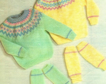 Baby / Childrens Fair Isle Sweaters And Leg Warmers.