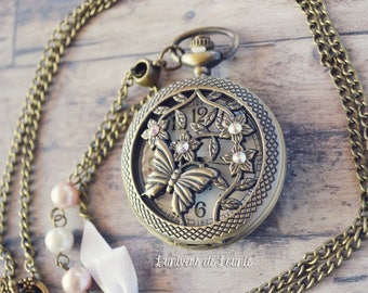 Necklace watch FOB Butterfly Swarovski Pearly beads