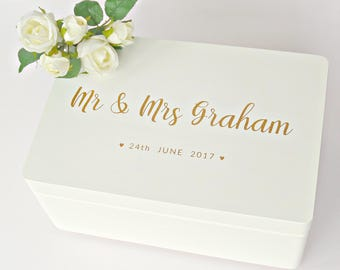 Personalised Mr & Mrs Wedding Keepsake Box - Handpainted Wooden Bride and Groom Couple Gift - Bridesmaid Box - White and Gold or Silver etc.