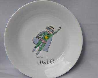 Super Hero baby Amélie Biggs®, little boy with name, birthday gift plate