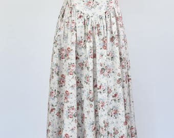 Vintage 1980s cream floral bridesmaid style full skirt maxi dress size 10