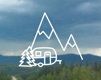 Mountain Scene with Boler/Camper or Tent Decal