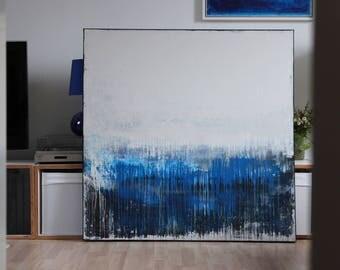 Abstract art, acrylic painting, 110 cm x 110 cm x 4 cm