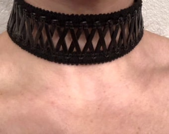 Black Wide Trim Choker with Faux Leather