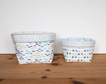 Fish, sea stars and waves printed cotton storage baskets / white and blue baskets / child's room decor / storage