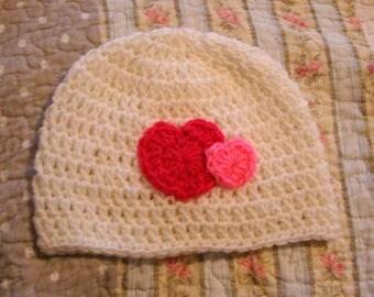 Pink Hearts Valentine's Hat / 3-10 years /  Crochet Winter Hat / Beanie / Warm / Child / Gift / Pink & White / Unique / Cute