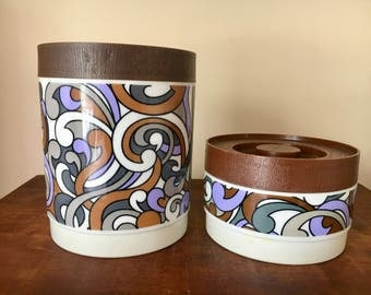 Willow canister pair made in australia groovy retro vintage