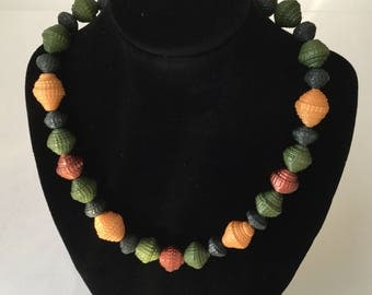 Paper bead necklace, women gift, paper Jewellery, autumn necklace, green necklace,cooper necklace, modern jewellery