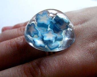 Ring designer glass Dome [Constellation of stars.