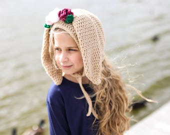 Crochet Bunny Rabbit Bonnet with or without Flowers