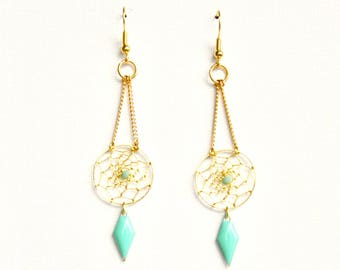 Gold dream catcher and turquoise enameled diamond earrings