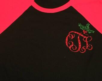 It's christmas Y'all monogram raglan. Christmas monogram raglan