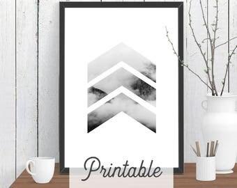 Chevrons Cloud Mountain PRINTABLE Print | Scandi Wall Art | Modern Room Decor | Minimalist Downloadable Poster