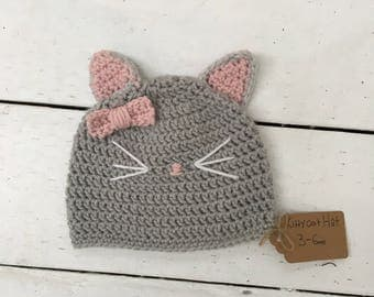 Kitty cat hat! (Newborn-Adult)(