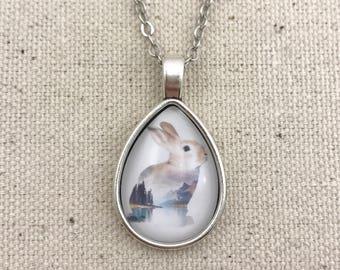 Landscape Bunny Necklace Antique Silver