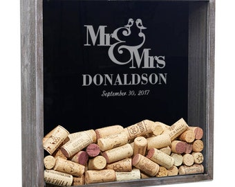 Wedding Shadow Box Guest Book, Wine Cork Holder, Personalized Shadow Box, Gifts For The Couple, Drop Box