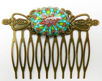 Vintage blue mandala comb in polymer clay and brass