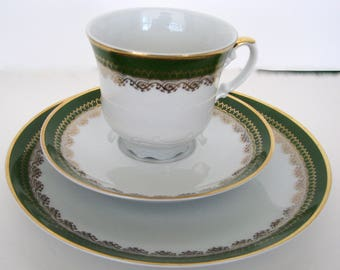 SPRING SALE Vintage Tea Trio Seltmann Bavaria Green Bavaria China Set
