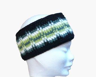 earmuffs headband sport graphic green double fleece hand made
