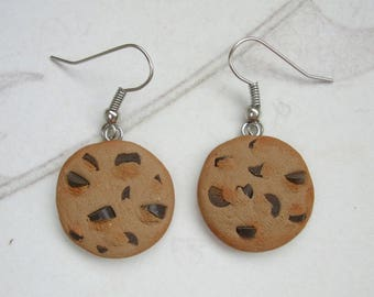 Chocolate Chip Cookie Earrings - Polymer Clay Food Jewellery, Realistic Cookies, Hand Made