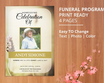 Funeral Program Template, Obituary Program Template | Editable With Microsoft Word, Mac Page & Publisher- EF97