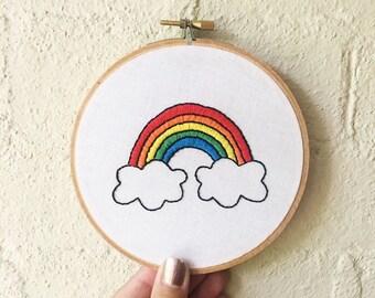 5 inch Rainbow Embroidery Hoop Art Nursery Decor