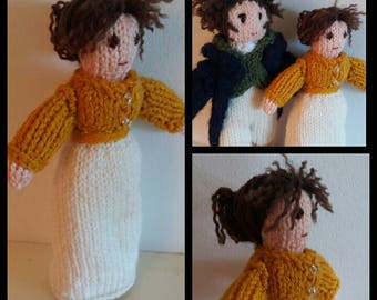 Hand KNITTED ELIZABETH BENNET soft toy/doll made to order, Pride & Prejudice, Mr Darcy, Jane Austen, Regency, birthday or Christmas gift