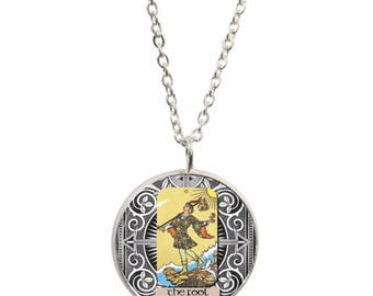 The Fool Tarot Card Pendant and Silver Plated Necklace