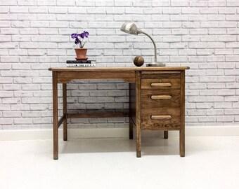 Vintage Industrial Style Abbess Oak Mid Century Teachers School Desk