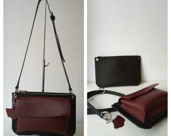 2in1 bag for shoulder and clutch from natural leather