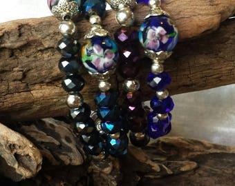 4 Piece Large Crystal Beaded Bracelet Set with Handmade Lampwork Focal Beads