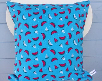 Watermelon Pillow, Blue Watermelon Cushion, Party Cushion Gift, Fruit Print Decor, Watermelon Print Cushion, Holiday Gift