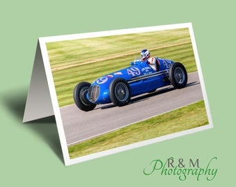 Maserati car Greeting Card - racing car card - personalised card- maserati 8CTF - blank photo car card - card for man - any occasion card