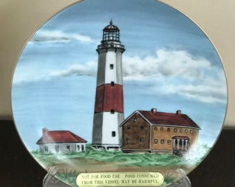 Lefton's  Historical American Lighthouse Light House  Collectors Plate*By Mary Lingle # 1135* 1996