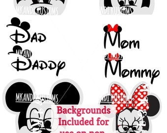 4 Minnie Mickey Heads/Disney Svg/ Mickey Mouse svg/ Minnie Mouse svg/Disney Family Svg/Disney Mickey Mouse Svg/ mickey Minnie silhouette svg